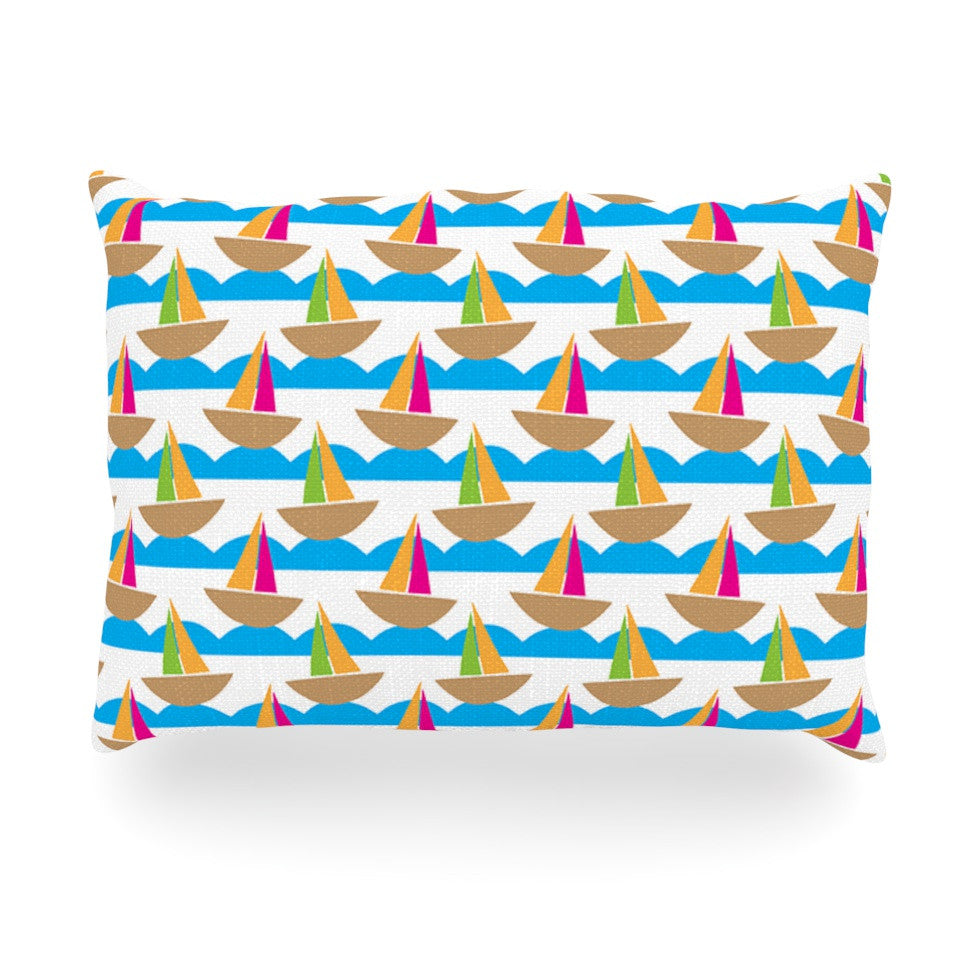 "Apple Kaur Designs ""Beside the Seaside"" Boats Oblong Pillow - KESS InHouse"
