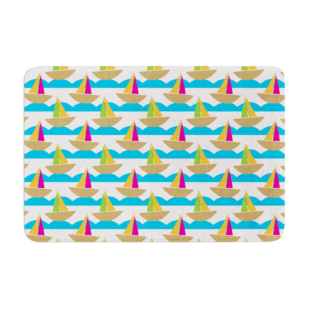 "Apple Kaur Designs ""Beside the Seaside"" Boats Memory Foam Bath Mat - KESS InHouse"