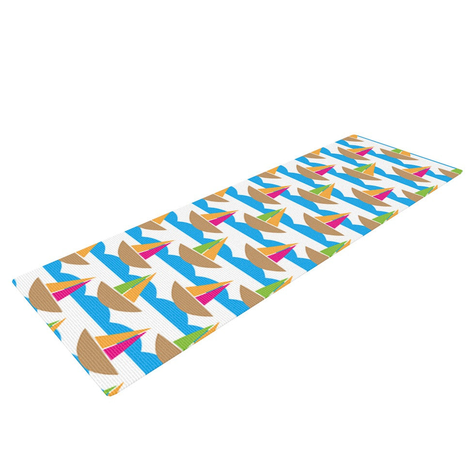 "Apple Kaur Designs ""Beside the Seaside"" Boats Yoga Mat - KESS InHouse  - 1"