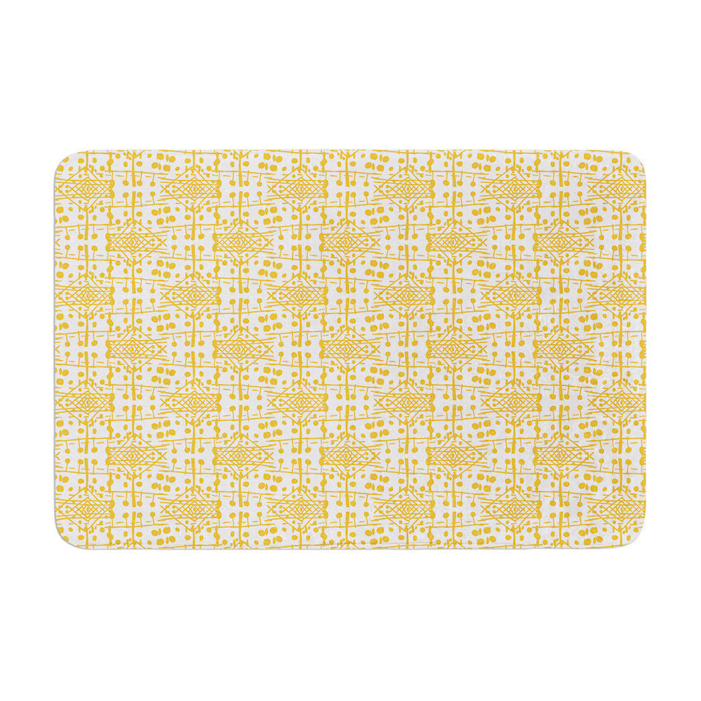"Apple Kaur Designs ""Diamonds"" Yellow Squares Memory Foam Bath Mat - KESS InHouse"