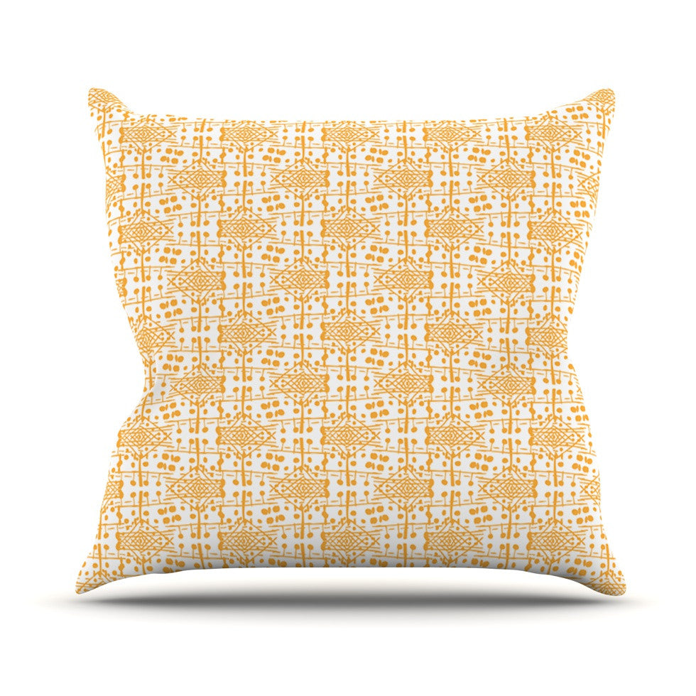 "Apple Kaur Designs ""Diamonds"" Yellow Squares Outdoor Throw Pillow - KESS InHouse  - 1"