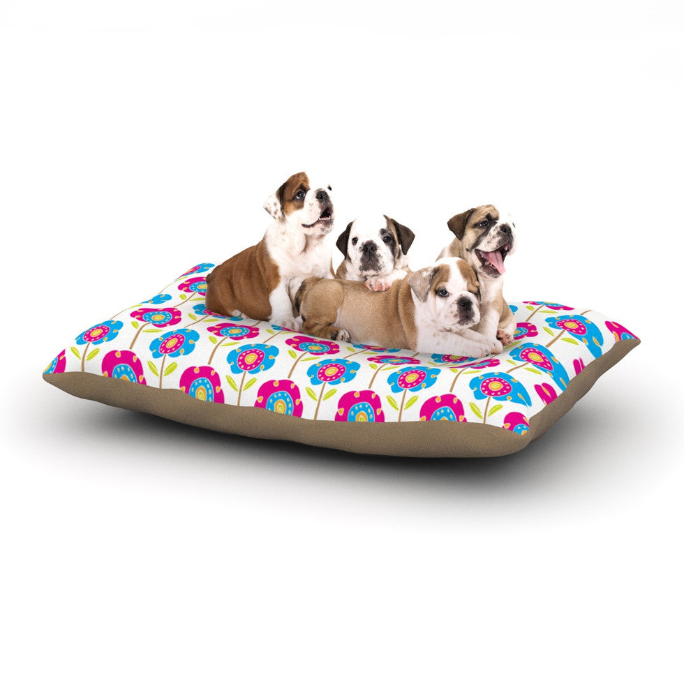"Apple Kaur Designs ""Lolly Flowers"" Blue Pink Dog Bed - KESS InHouse  - 1"
