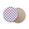 "Apple Kaur Designs ""Lolly Flowers"" Blue Pink Round Wooden Cutting Board"
