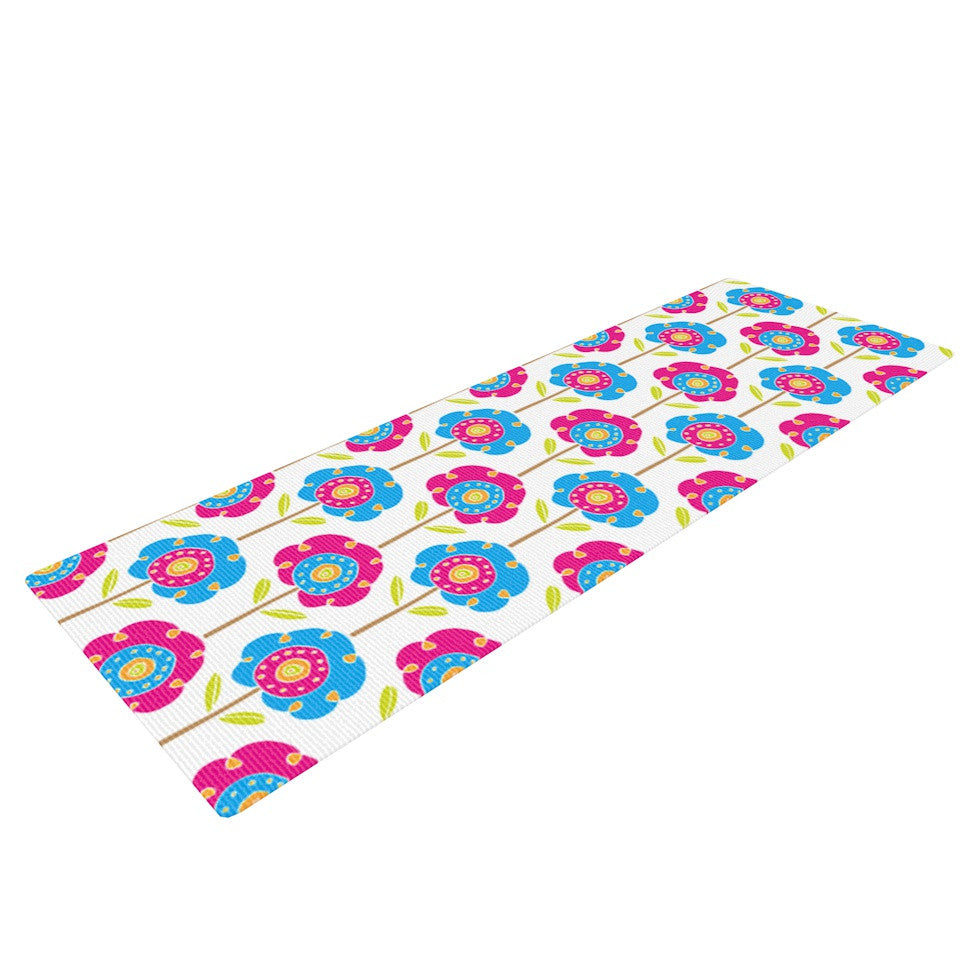 "Apple Kaur Designs ""Lolly Flowers"" Blue Pink Yoga Mat - KESS InHouse  - 1"