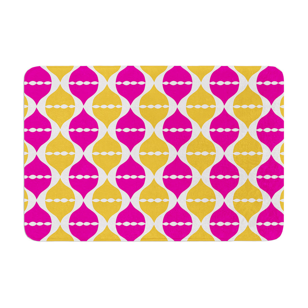 "Apple Kaur Designs ""Moroccan Dreams"" Pink Orange Memory Foam Bath Mat - KESS InHouse"