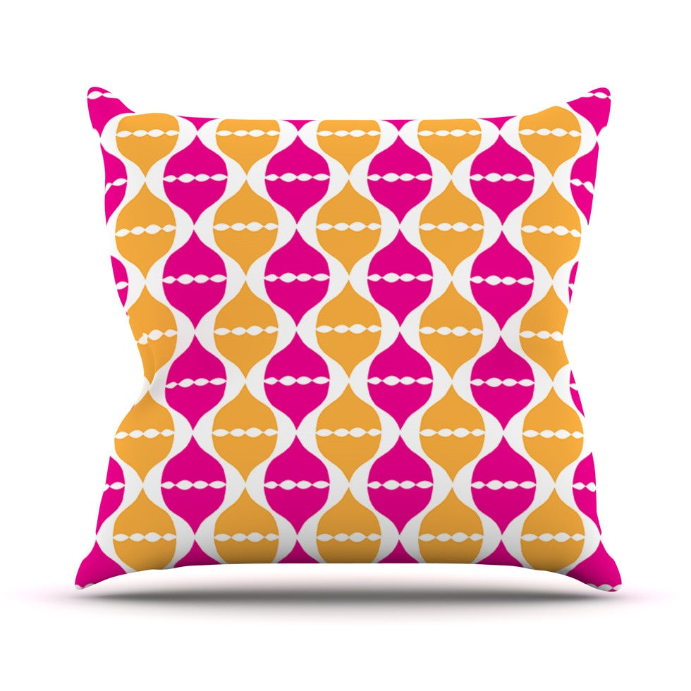 "Apple Kaur Designs ""Moroccan Dreams"" Pink Orange Outdoor Throw Pillow - KESS InHouse  - 1"