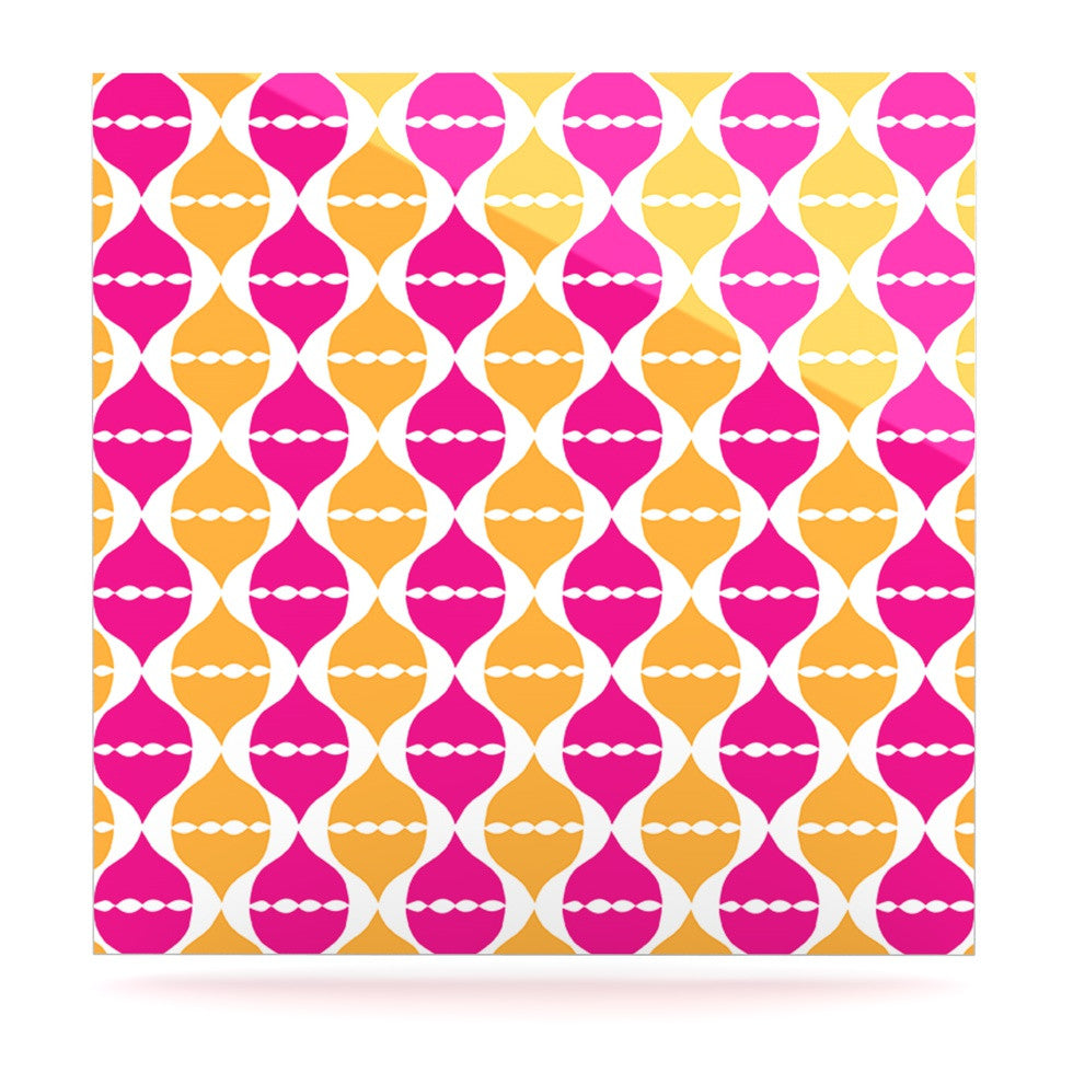 "Apple Kaur Designs ""Moroccan Dreams"" Pink Orange Luxe Square Panel - KESS InHouse  - 1"