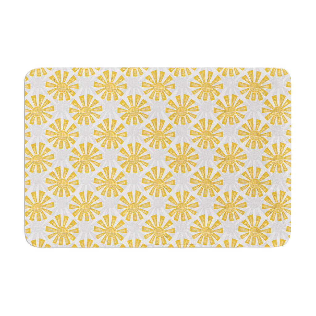 "Apple Kaur Designs ""Sunburst"" Orange Gray Memory Foam Bath Mat - KESS InHouse"