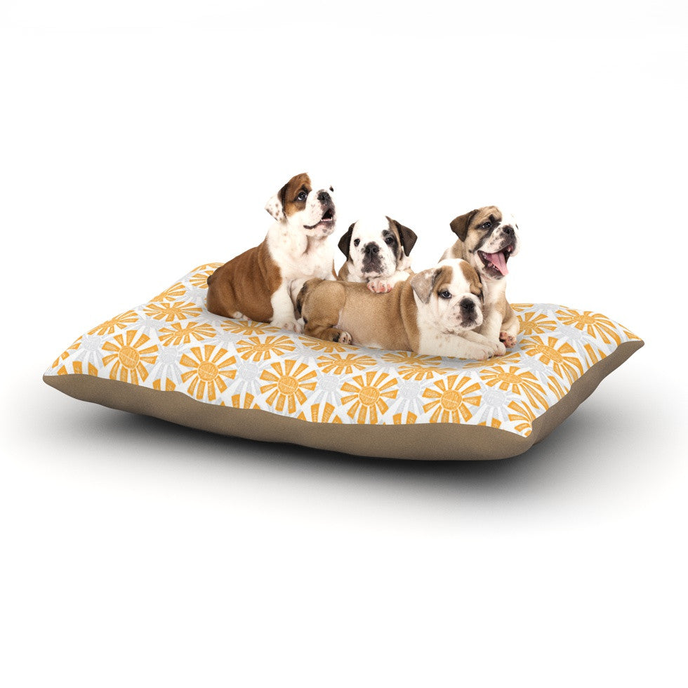 "Apple Kaur Designs ""Sunburst"" Orange Gray Dog Bed - KESS InHouse  - 1"