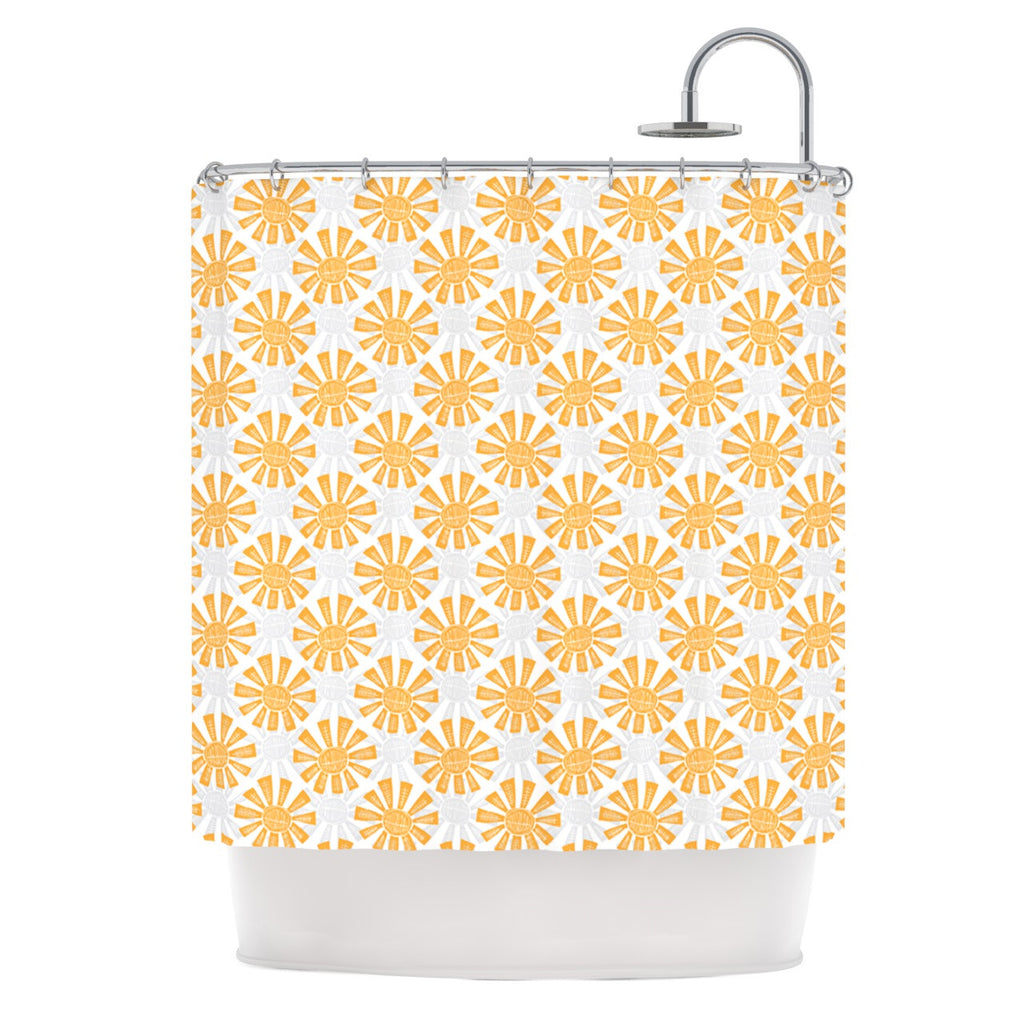 "Apple Kaur Designs ""Sunburst"" Orange Gray Shower Curtain - KESS InHouse"