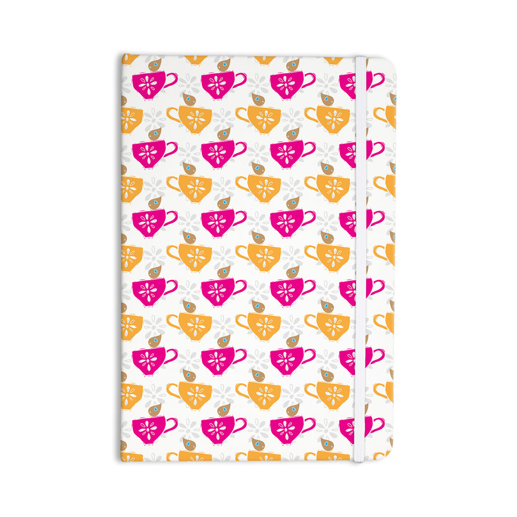 "Apple Kaur Designs ""Tea-Birds"" Orange Pink Everything Notebook - KESS InHouse  - 1"