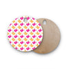"Apple Kaur Designs ""Tea-Birds"" Orange Pink Round Wooden Cutting Board"