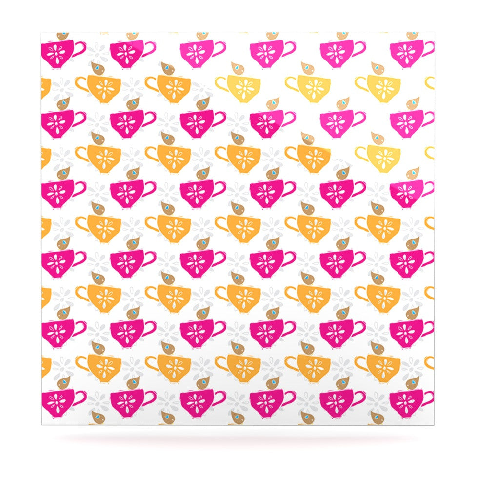 "Apple Kaur Designs ""Tea-Birds"" Orange Pink Luxe Square Panel - KESS InHouse  - 1"