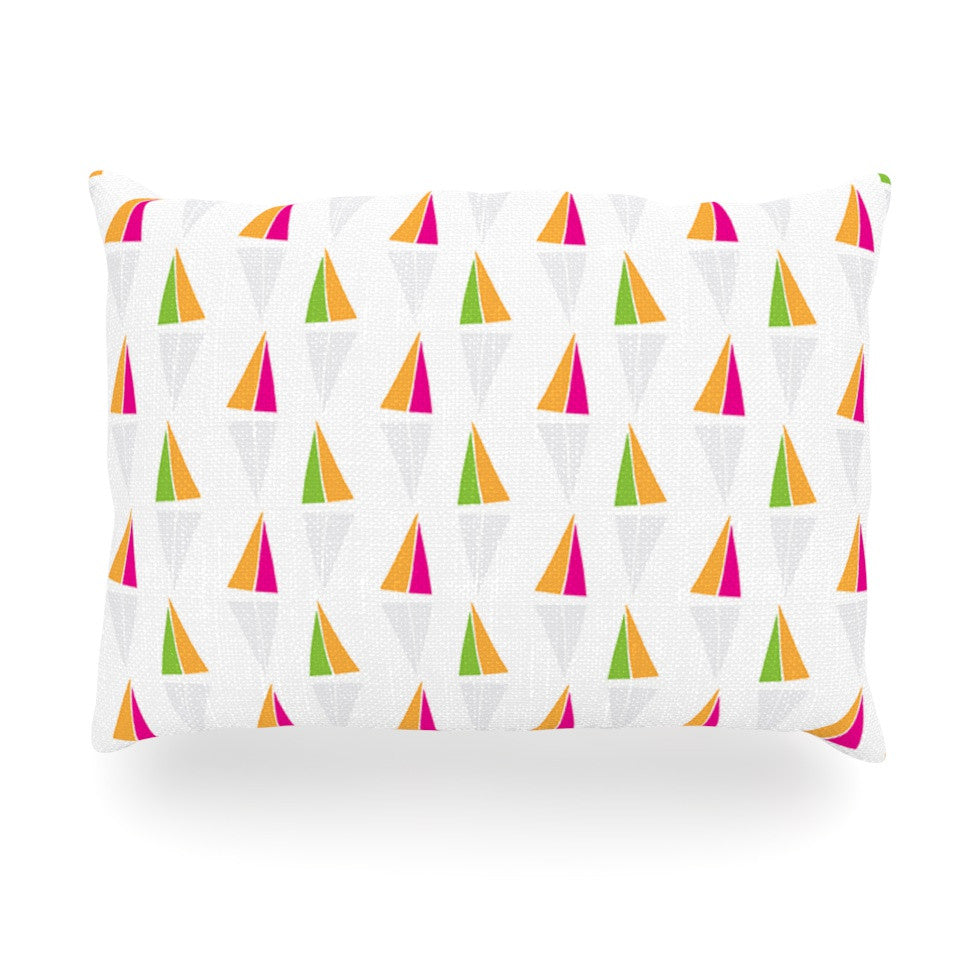 "Apple Kaur Designs ""Triangles"" Orange White Oblong Pillow - KESS InHouse"