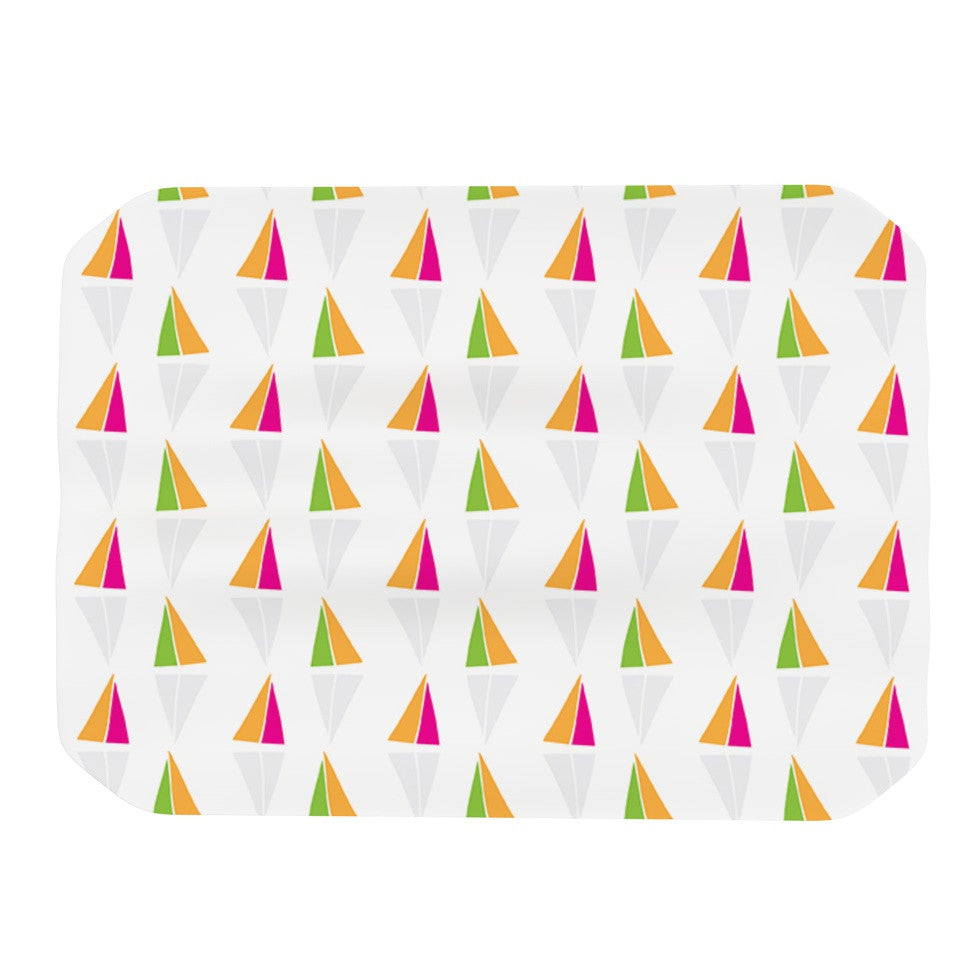 "Apple Kaur Designs ""Triangles"" Orange White Place Mat - KESS InHouse"
