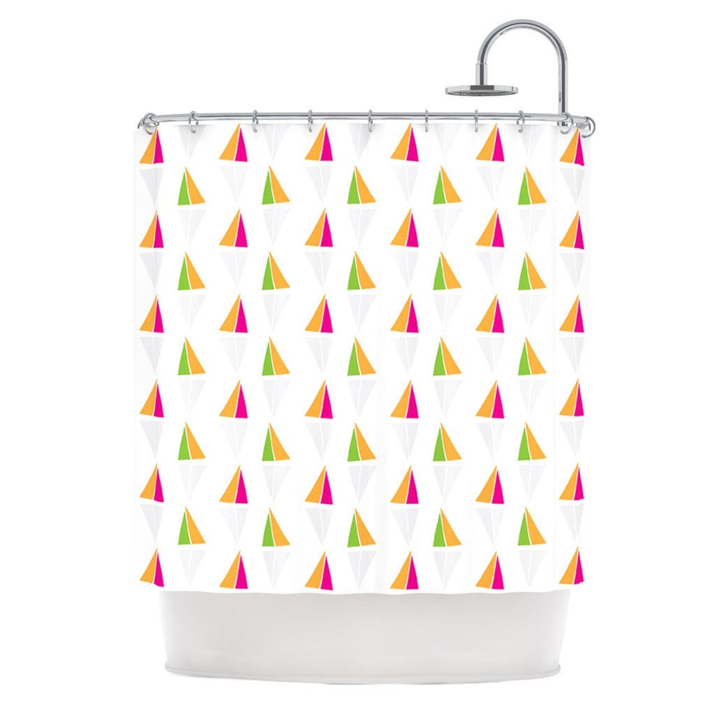 "Apple Kaur Designs ""Triangles"" Orange White Shower Curtain - KESS InHouse"