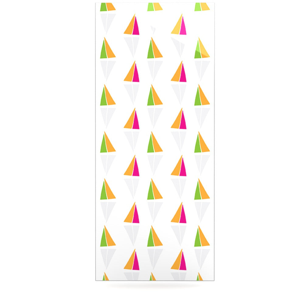 "Apple Kaur Designs ""Triangles"" Orange White Luxe Rectangle Panel - KESS InHouse"