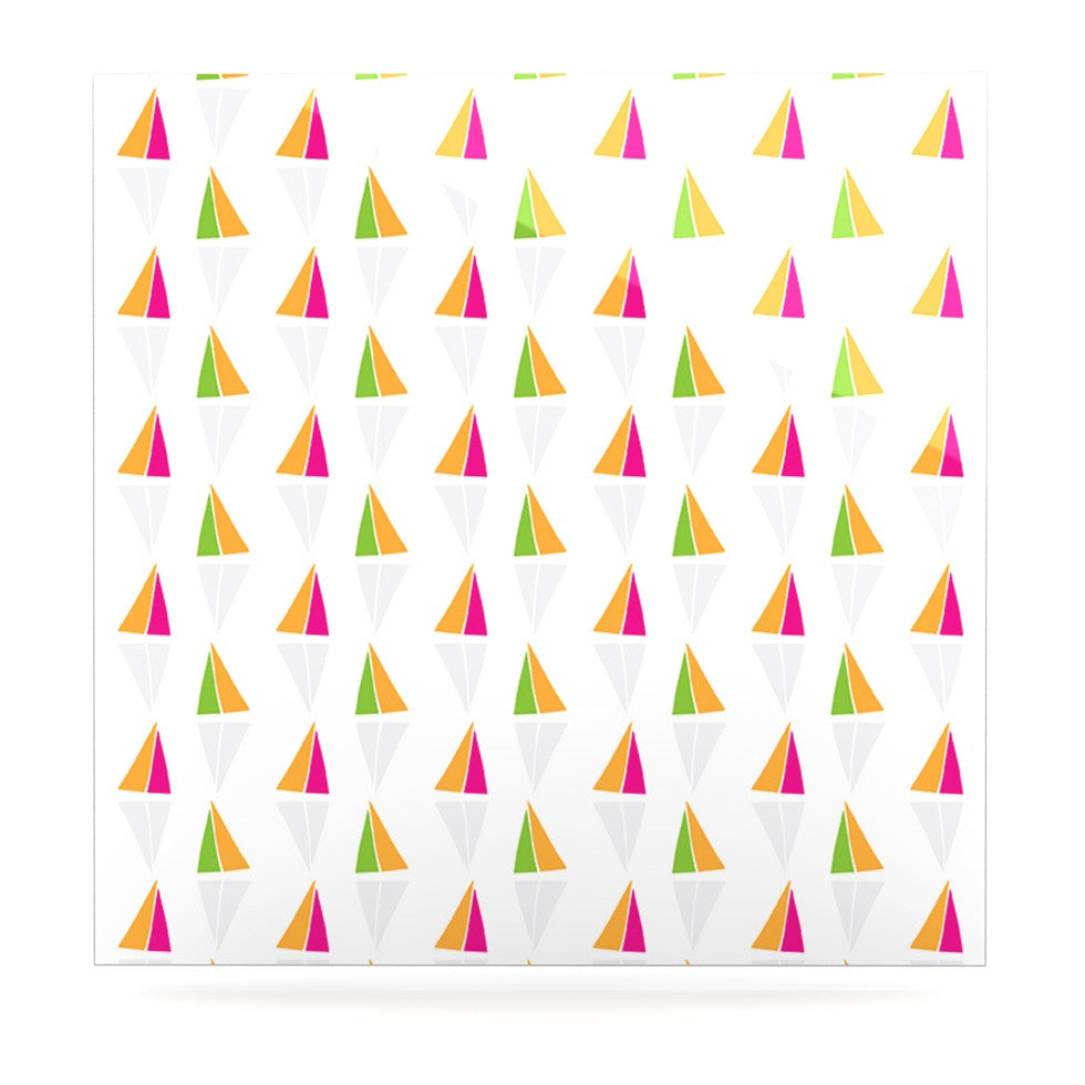 "Apple Kaur Designs ""Triangles"" Orange White Luxe Square Panel - KESS InHouse"