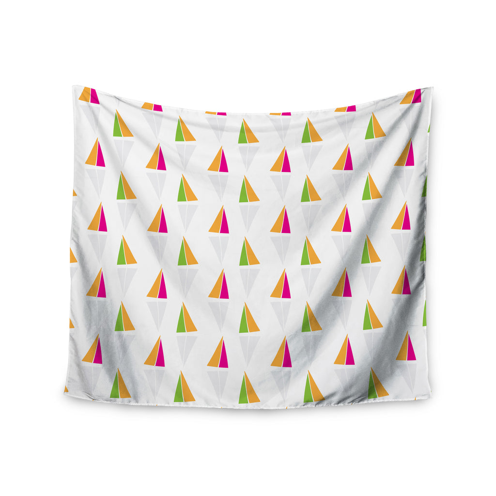 "Apple Kaur Designs ""Triangles"" Orange White Wall Tapestry - KESS InHouse  - 1"