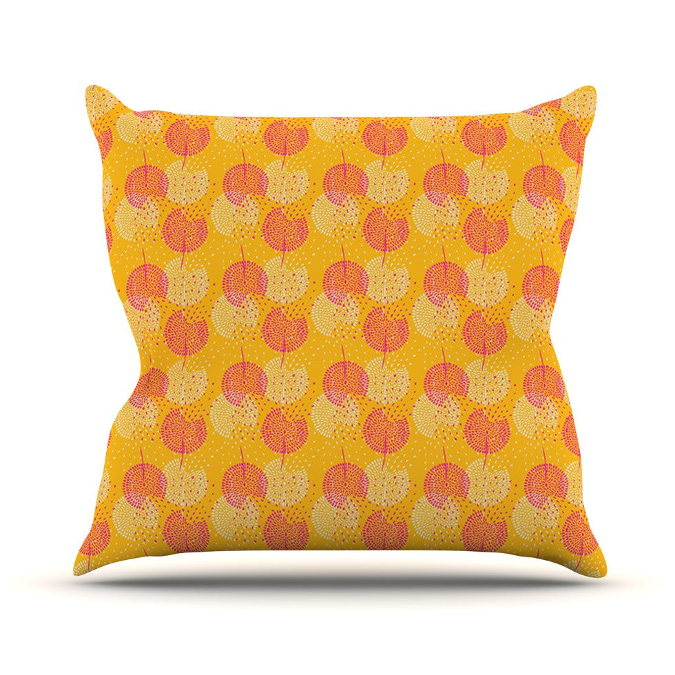 "Apple Kaur Designs ""Wild Summer Dandelions"" Gold Circles Throw Pillow - KESS InHouse  - 1"