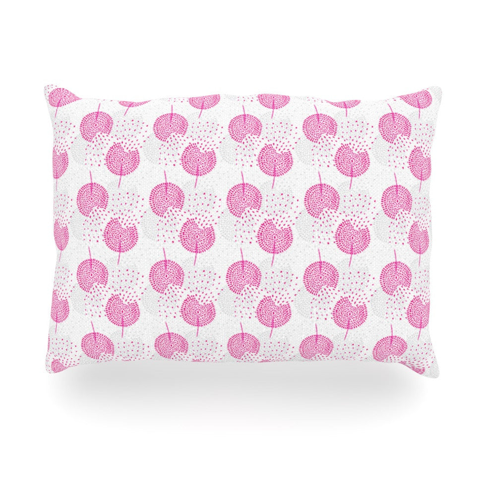 "Apple Kaur Designs ""Wild Dandelions"" Pink Gray Oblong Pillow - KESS InHouse"