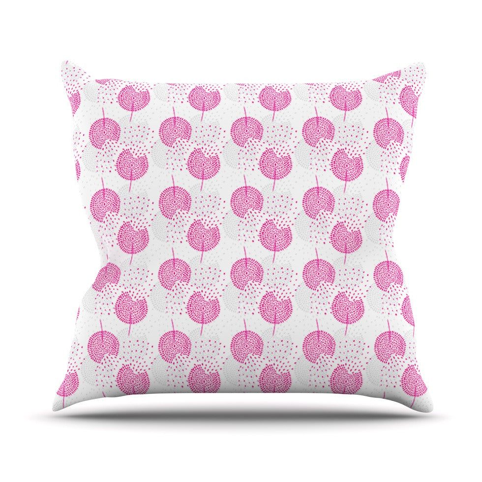 "Apple Kaur Designs ""Wild Dandelions"" Pink Gray Throw Pillow - KESS InHouse  - 1"