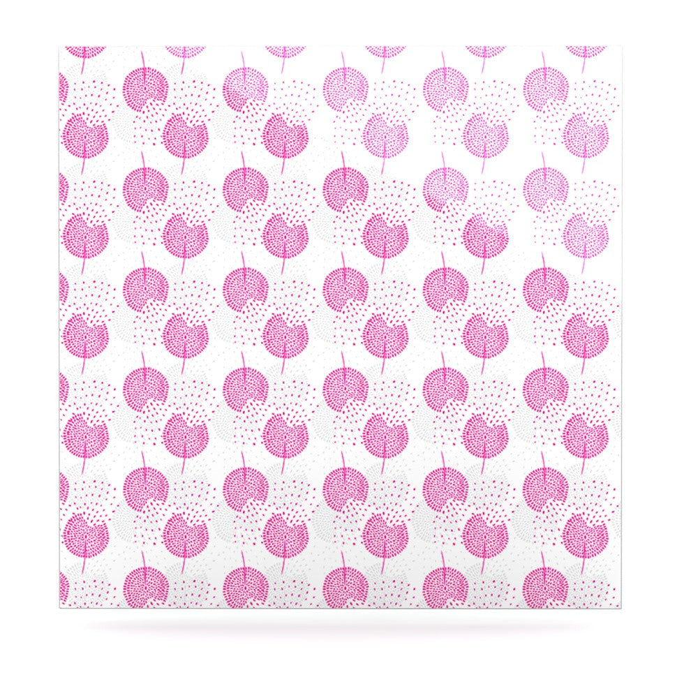 "Apple Kaur Designs ""Wild Dandelions"" Pink Gray Luxe Square Panel - KESS InHouse  - 1"