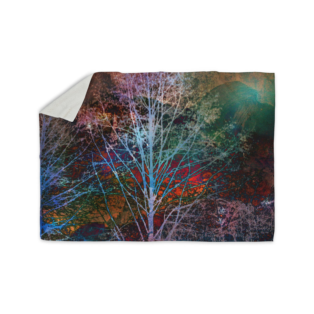 "Sylvia Cook ""Trees in the Night"" Sherpa Blanket - KESS InHouse  - 1"