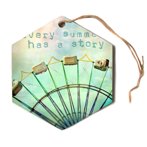 "Sylvia Cook ""Every Summer has a Story""  Hexagon Holiday Ornament"