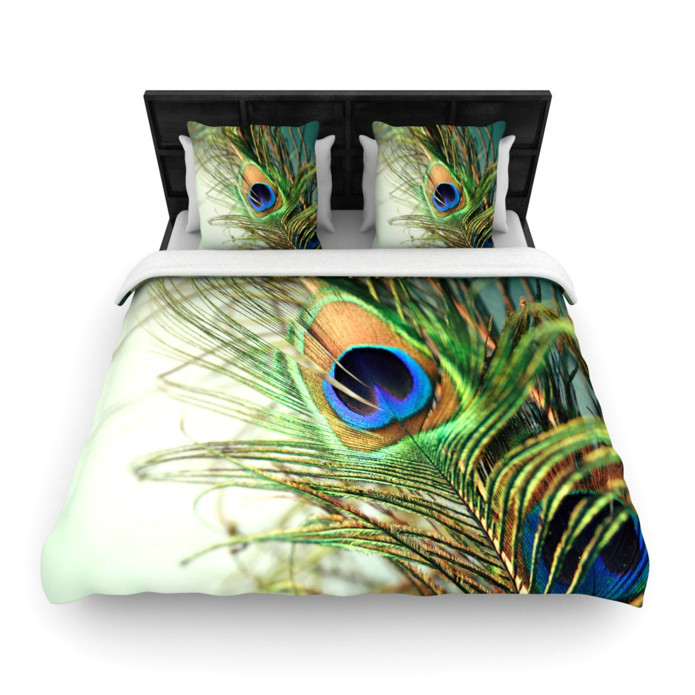 "Sylvia Cook ""Teal Peacock Feather"" Woven Duvet Cover - KESS InHouse  - 1"