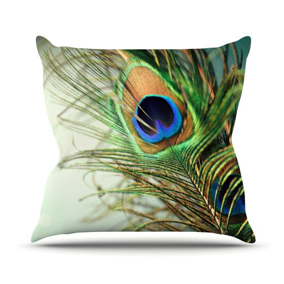 "Sylvia Cook ""Teal Peacock Feather"" Outdoor Throw Pillow - KESS InHouse  - 1"