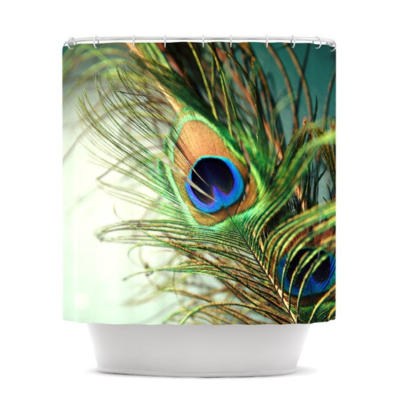 "Sylvia Cook ""Teal Peacock Feather"" Shower Curtain - KESS InHouse"