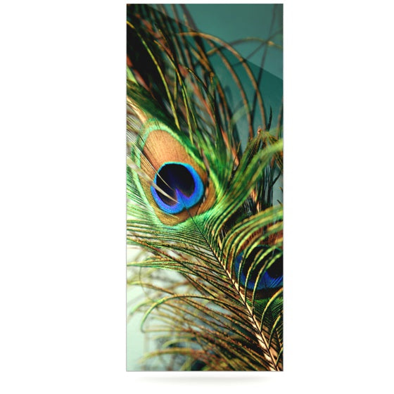 "Sylvia Cook ""Teal Peacock Feather"" Luxe Rectangle Metal Art - KESS InHouse  - 1"