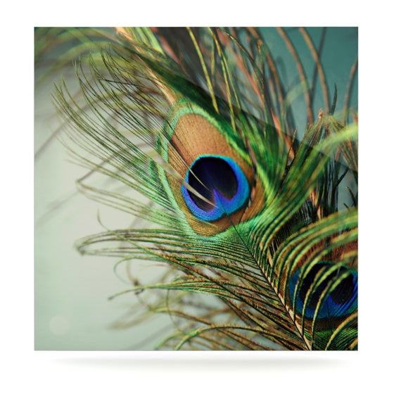 "Sylvia Cook ""Teal Peacock Feather"" Luxe Square Metal Art - KESS InHouse  - 1"