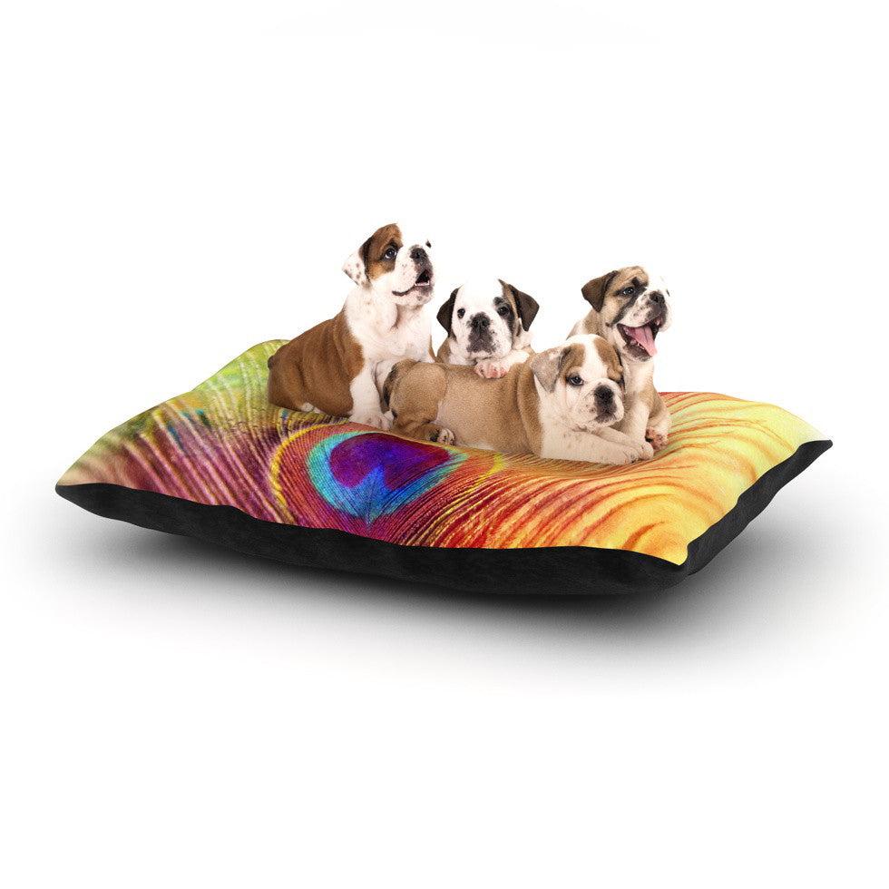 "Sylvia Cook ""Peacock Feather"" Dog Bed - KESS InHouse  - 1"