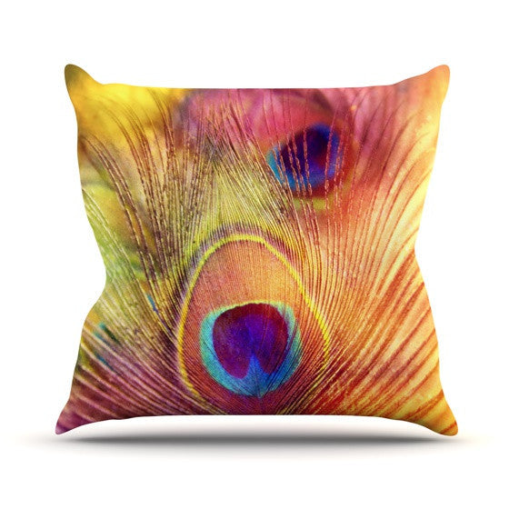 "Sylvia Cook ""Peacock Feather"" Outdoor Throw Pillow - KESS InHouse  - 1"