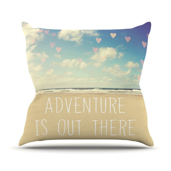 "Sylvia Cook ""Adventure is Out There"" Outdoor Throw Pillow - KESS InHouse  - 1"