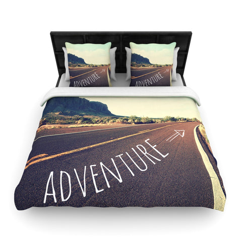 "Sylvia Cook ""Adventure"" Teal Travel Typography Woven Duvet Cover - Outlet Item"