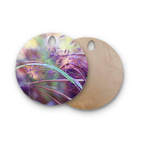"Sylvia Cook ""Pretty Grasses"" Round Wooden Cutting Board"
