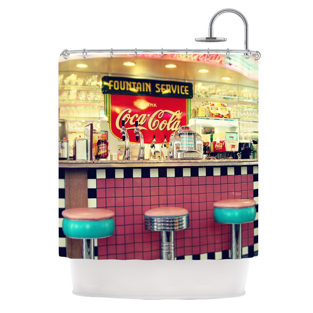 retro shower curtain. Retro Diner. By Sylvia Cook. Shower Curtain