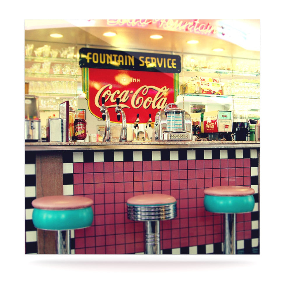 "Sylvia Cook ""Retro Diner"" Coca Cola Luxe Square Panel - KESS InHouse  - 1"