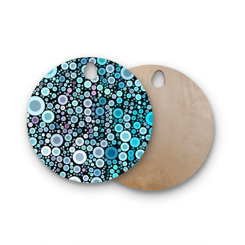 "Sylvia Cook ""Aquatic"" Blue Circles Round Wooden Cutting Board"