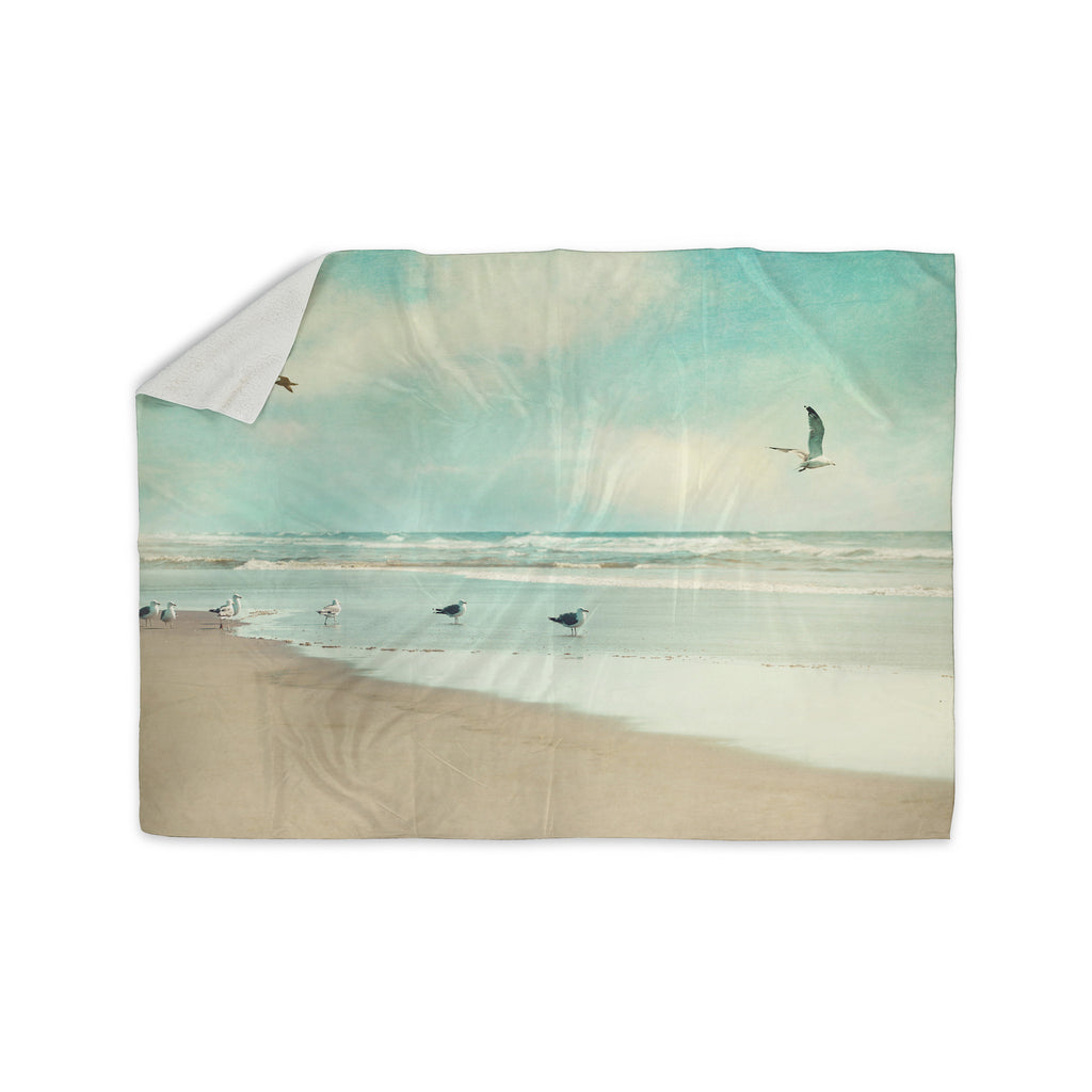 "Sylvia Cook ""Away We Go"" Beach Seagull Sherpa Blanket - KESS InHouse  - 1"