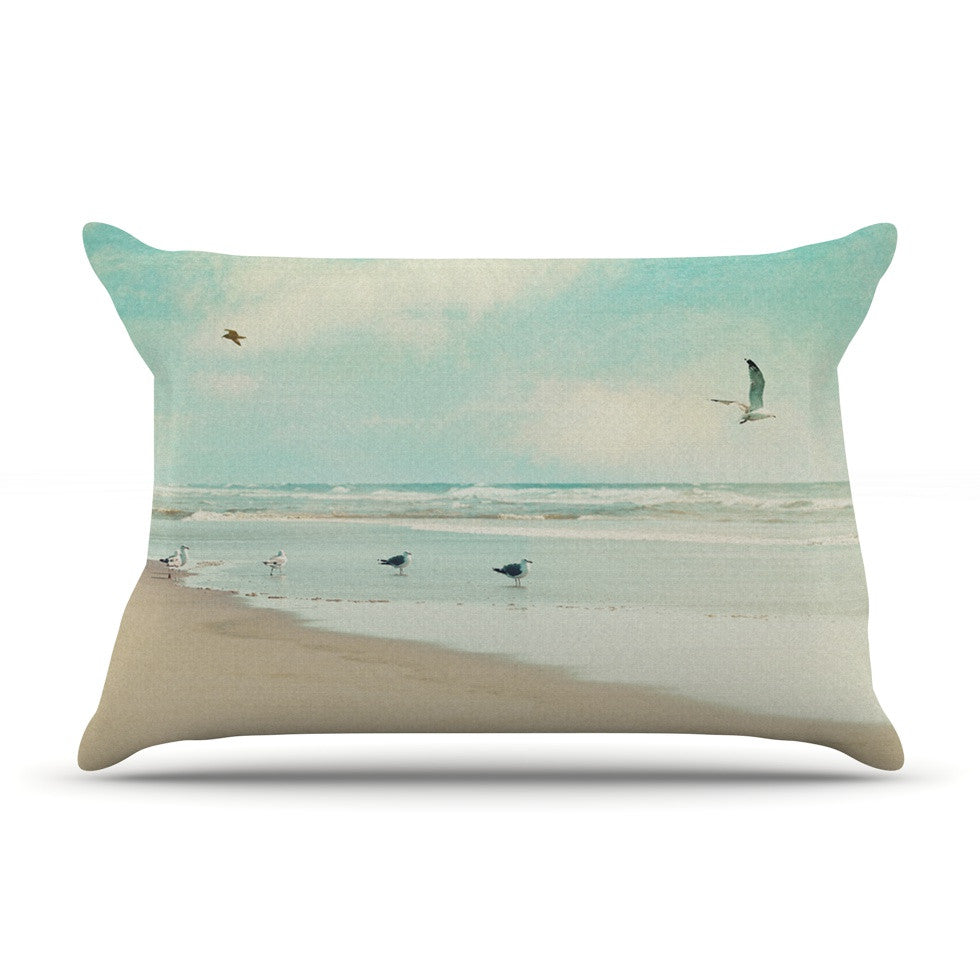 "Sylvia Cook ""Away We Go"" Beach Seagull Pillow Sham - KESS InHouse"