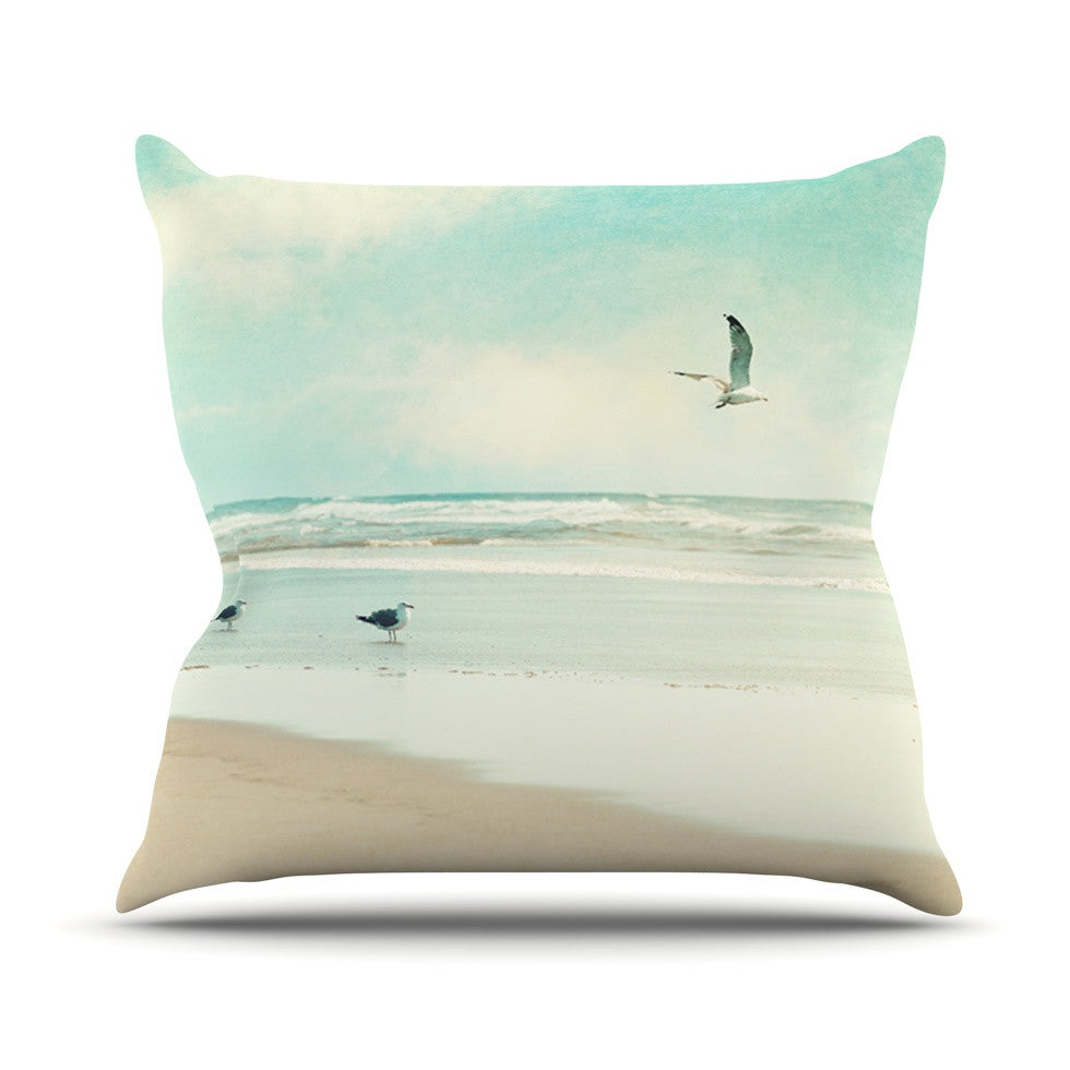 "Sylvia Cook ""Away We Go"" Beach Seagull Outdoor Throw Pillow - KESS InHouse  - 1"