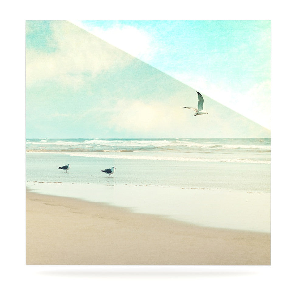 "Sylvia Cook ""Away We Go"" Beach Seagull Luxe Square Panel - KESS InHouse  - 1"
