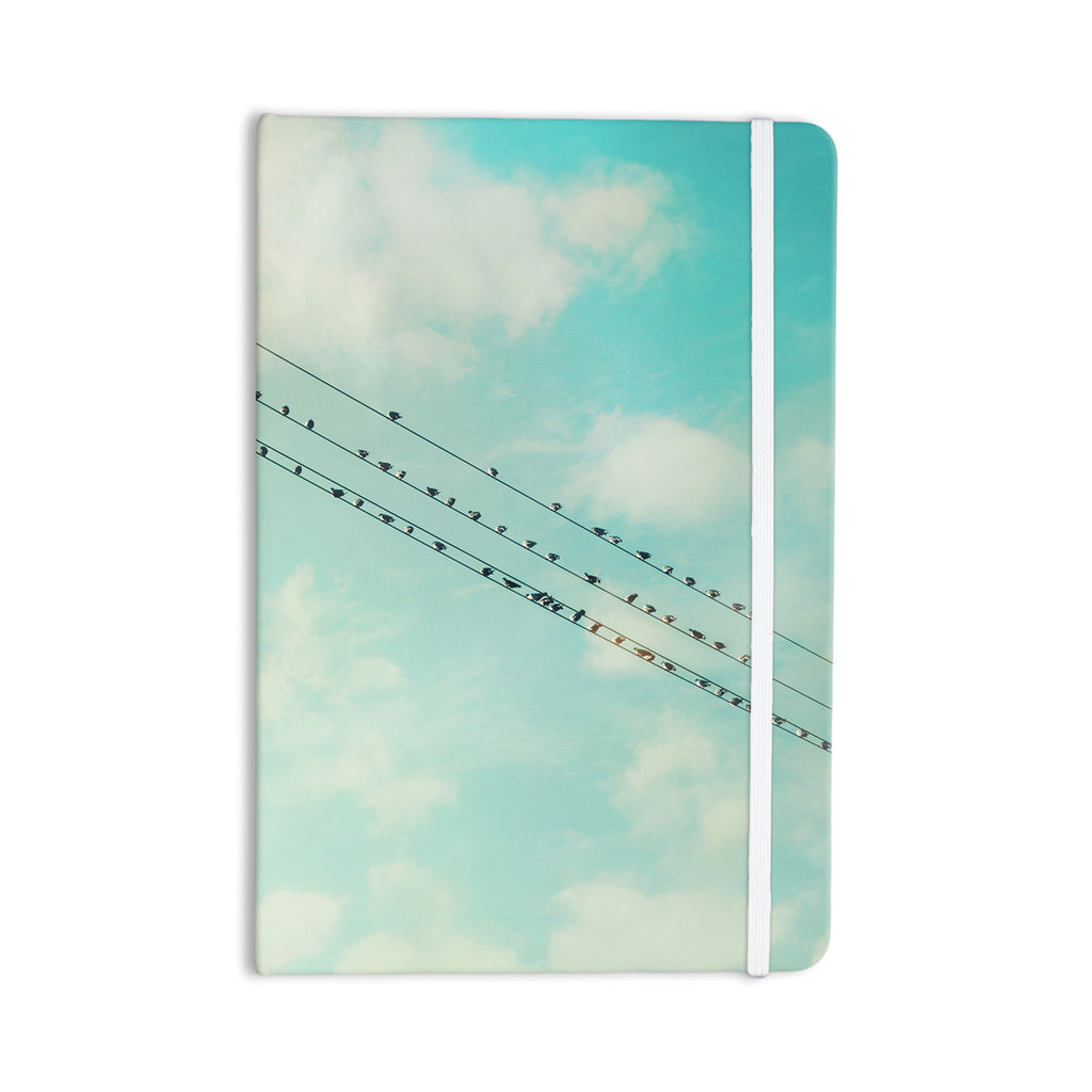 "Sylvia Cook ""Birds on Wires"" Teal Sky Everything Notebook - KESS InHouse  - 1"