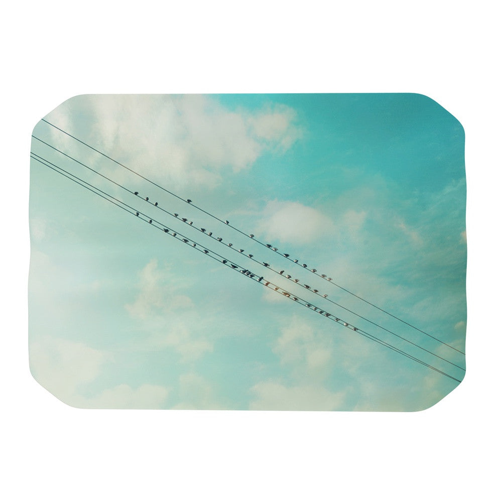 "Sylvia Cook ""Birds on Wires"" Teal Sky Place Mat - KESS InHouse"