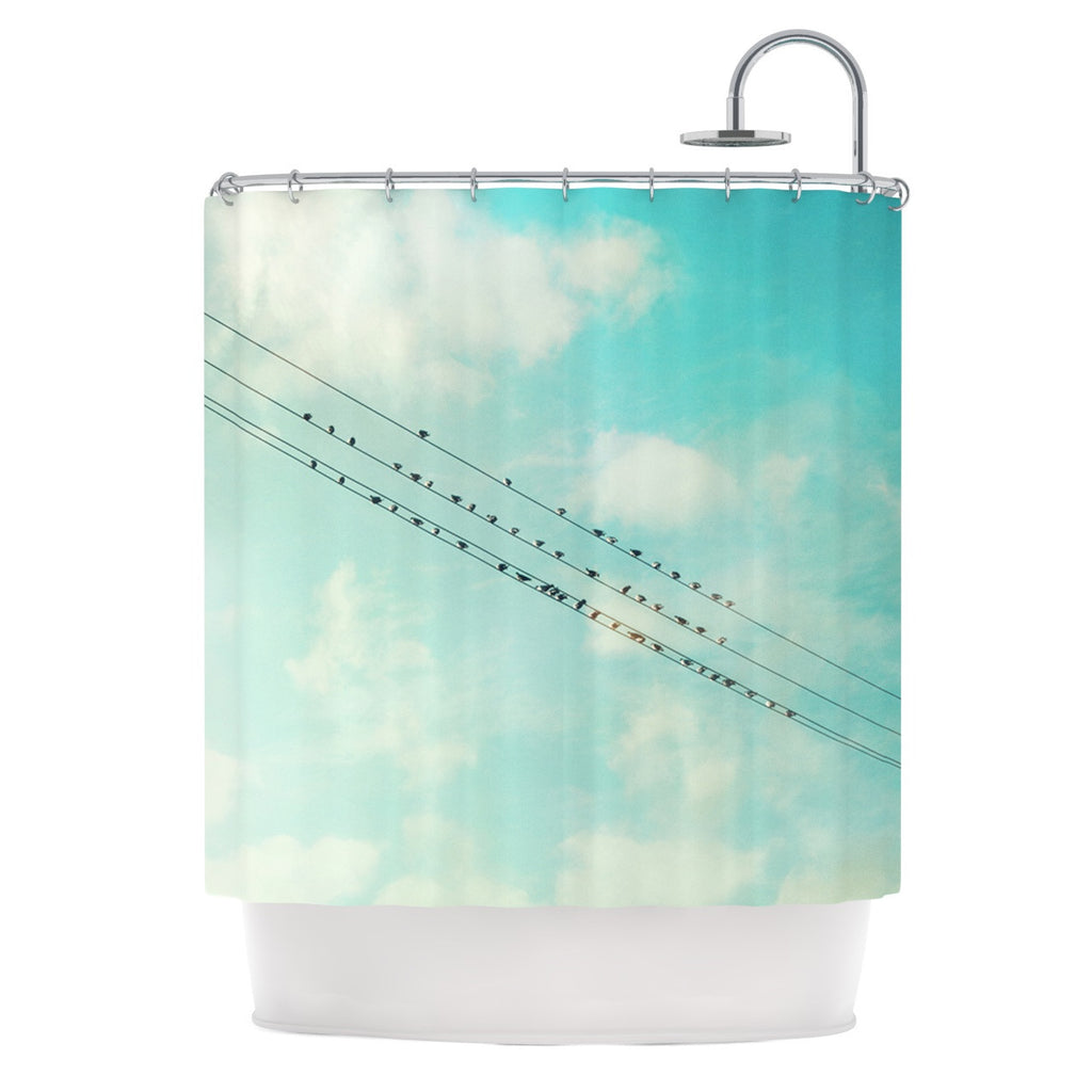 "Sylvia Cook ""Birds on Wires"" Teal Sky Shower Curtain - KESS InHouse"