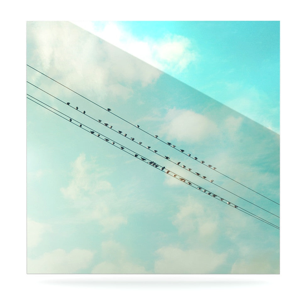 "Sylvia Cook ""Birds on Wires"" Teal Sky Luxe Square Panel - KESS InHouse  - 1"